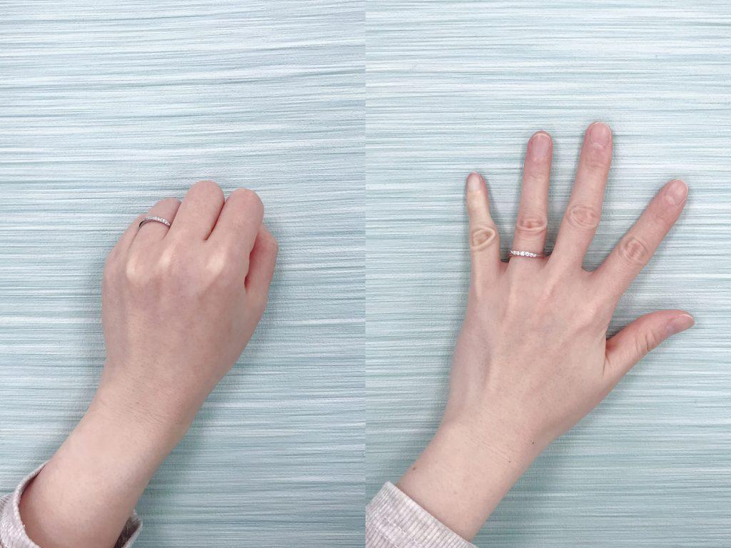 試戴戒指時可以做出握拳、張開手指等動作,來檢查戒指是否太緊或是太鬆