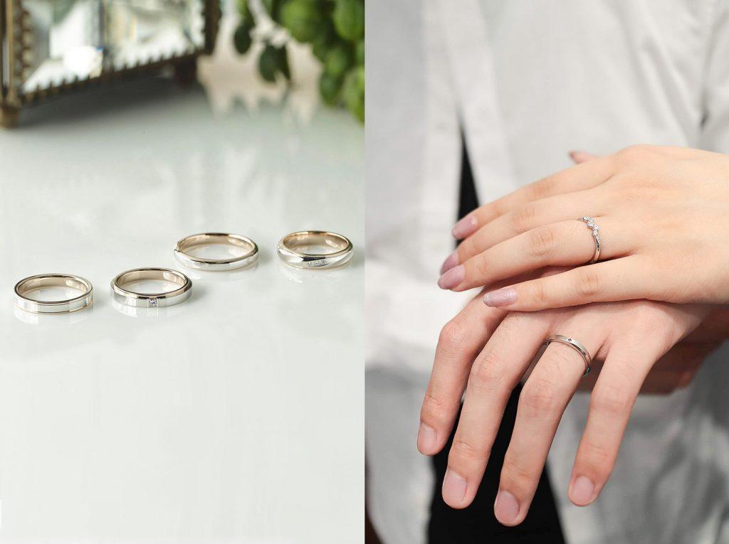 左圖為寬版戒指,右圖為細版戒指,因為和手指的粗細、適合程度有關,建議購買前先試戴各種寬度的戒指。